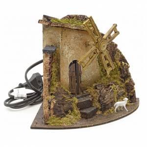 Moulin à vent avec chevreau pour crèche 17x22x17 s2