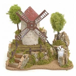 Moulin à vent électrique avec arbres décor de crèche s1