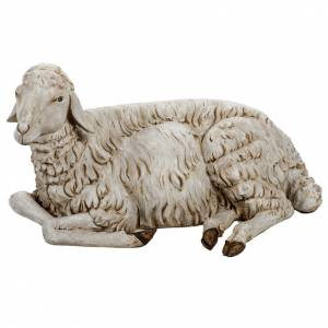Mouton couché crèche 180 cm résine Fontanin s1