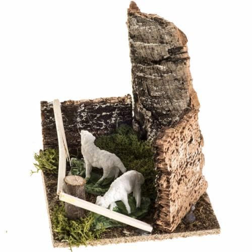 Moutons dans l'enclos milieu crèche de Noel s3