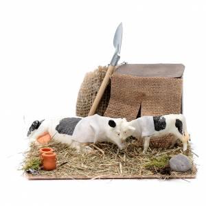 Presepe Napoletano: Mucca e cucciolo in movimento presepe di Napoli 10 cm