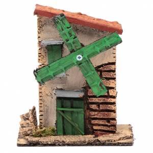 Mulini per Presepi: Mulino a vento legno e sughero 12x10x6 cm con tetto irregolare
