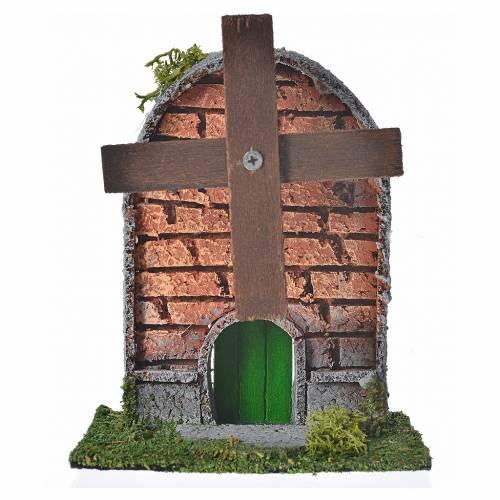 Mulino a vento legno e sughero 12x10x6 cm tetto arcuato s1