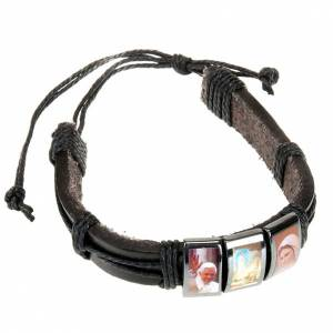 Multi-image hematite and leather bracelet s1