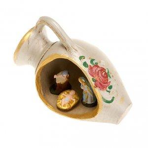 Belén terracota Deruta: Nacimiento en un jarrón, decorado