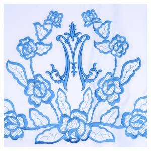 Nappes d'autel: Nappe d'autel 165x300 cm fleurs bleues initiales mariales