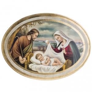 Natividad estampada en madera redonda 60 x 80 cm s4
