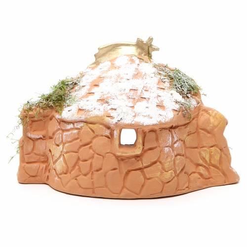 Natività in terracotta con capanna h. 15x20x11 cm s4