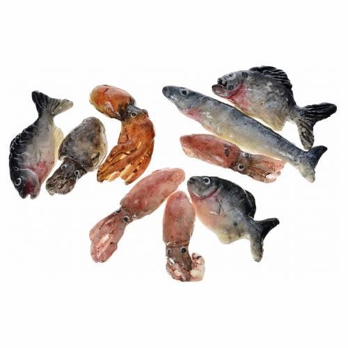 Nativity accessory, assorted fish, 3pcs in wax s2