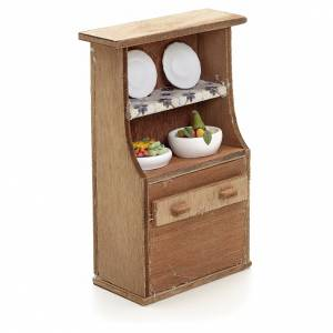 Nativity accessory, cupboard with plates s2