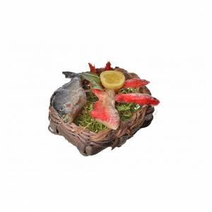 Nativity accessory, fish basket in wax, 4.5x5.5x6cm s2