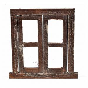 Nativity accessory, window with 2 doors and frame 8x6.5cm s1