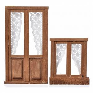 Balustrade, doors, railings: Nativity accessory, wooden frame, 2pcs, 13x7.5 and 8x7cm