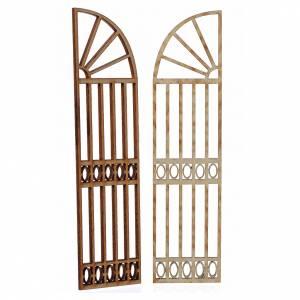 Nativity accessory, wooden gate, 2 pieces 15x13cm s2