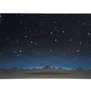 Nativity scene background: Nativity backdrop, luminous sky and mountains with LED lights 70