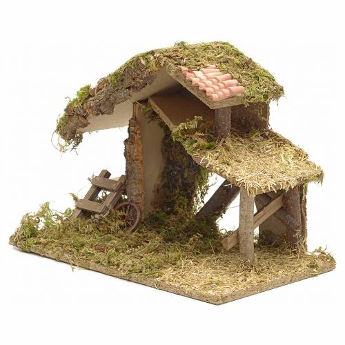 Nativity crib, moss and cork with manger and stairs s3