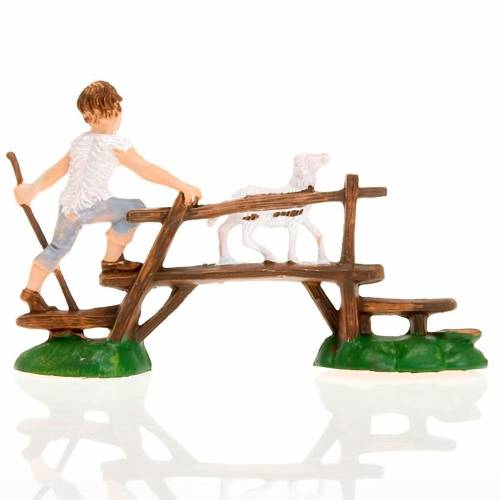 Nativity figurine, boy with sheep on bridge 8cm s2