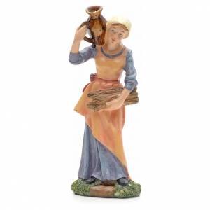 Nativity Scene figurines: Nativity figurine, girl with amphora and wood 21cm
