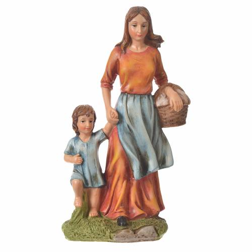 Nativity figurine, woman with little boy, 30cm resin s4