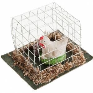 Nativity figurines, white hen in cage s2