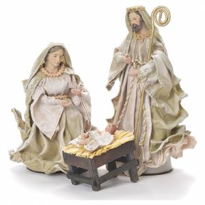 Nativity in fabric and resin measuring 26cm, green beige finish s1