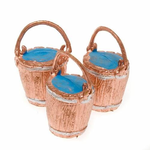 Nativity scene accessories, 3-piece buckets with handle set s3