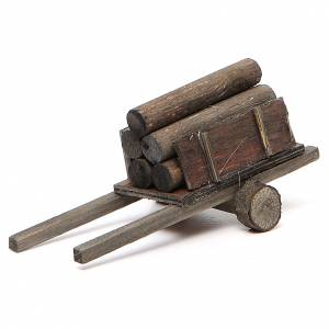 Miniature tools: Nativity scene accessory, cart with logs