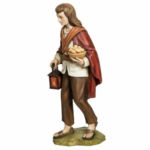 Nativity scene fiberglass figurine, shepherd with bread 60 cm s6