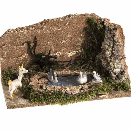 Nativity scene figurines, goat and 3 geese in the pond s1