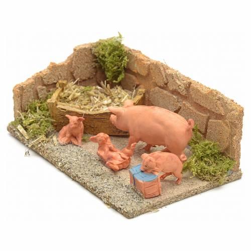 Nativity scene figurines, pigs family s2