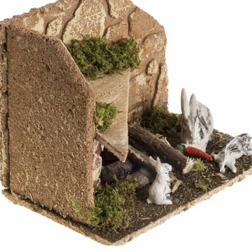 Nativity scene figurines, rabbits with rabbit hutch s2