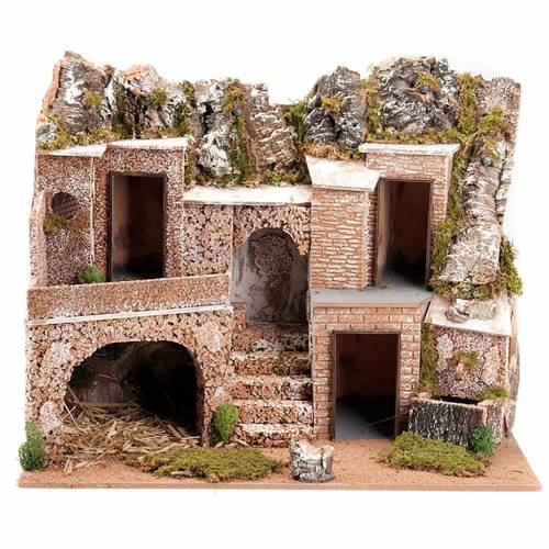 Nativity scene, grotto, electrical fountain and houses s1
