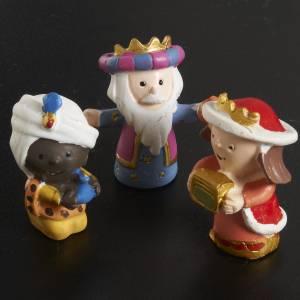 Nativity scene in coloured resin, 8 figurines 4,5cm s4