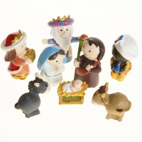 Nativity scene in coloured resin, 8 figurines 4,5cm s1