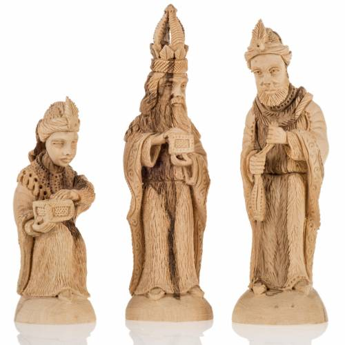 Nativity scene olive wood, Bethlehem 14 cm s3