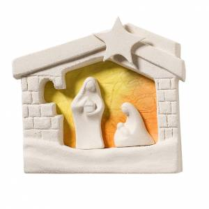 Stylized Nativity scene: Nativity scene, wall nativity stable in clay, orange 13,5cm