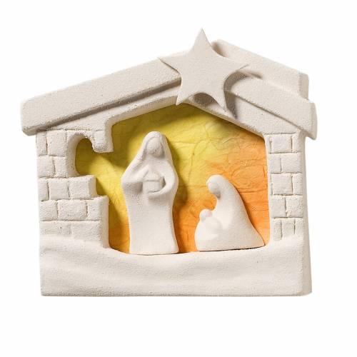 Nativity scene, wall nativity stable in clay, orange 13,5cm s1