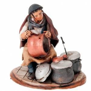 Terracotta Nativity Scene figurines from Deruta: Nativity set accessory, Coppersmith clay figurine