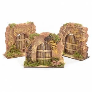 Balustrade, doors, railings: Nativity set accessory, cork wall with arch door