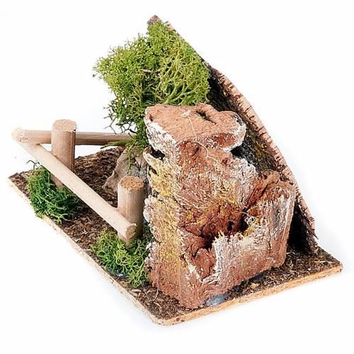 Nativity set accessory, fence and tree diorama s2