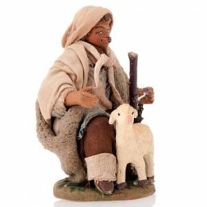 Nativity set accessory Kneeling shepherd sheep 10 cm figurines s2