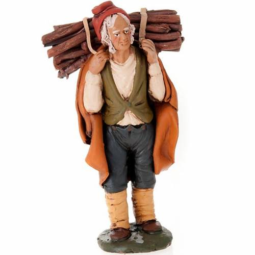 Nativity set accessory, man with firewood clay figurine s1