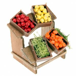 Miniature food: Nativity set accessory, market stall with fruit boxes