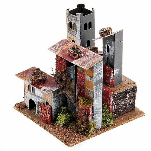 Nativity set accessory, paperboard houses with crenellated roof s1
