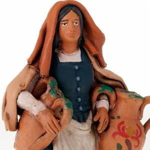 Nativity set accessory  Woman with jars clay figurine s3