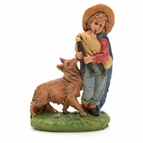 Nativity set figurine, shepher with dog and pipe 10cm s1