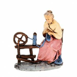 Nativity set figurine, woman spinning wool 10cm s1