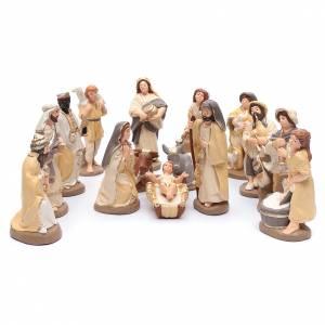 Terracotta Nativity Scene figurines from Deruta: Nativity set in painted clay 15 figurines 20cm, elegant style