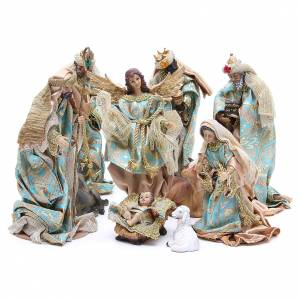 Resin and Fabric nativity scene sets: Nativity set in resin, 10 figurines measuring 25cm