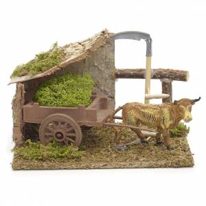 Nativity setting, brown ox with cart 10x14x9cm s1